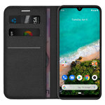 Leather Wallet Case & Card Holder Pouch for Xiaomi Mi A3 - Black